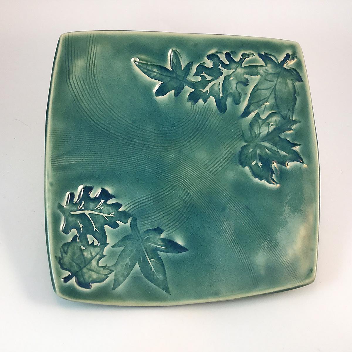 Aqua leaf square plate