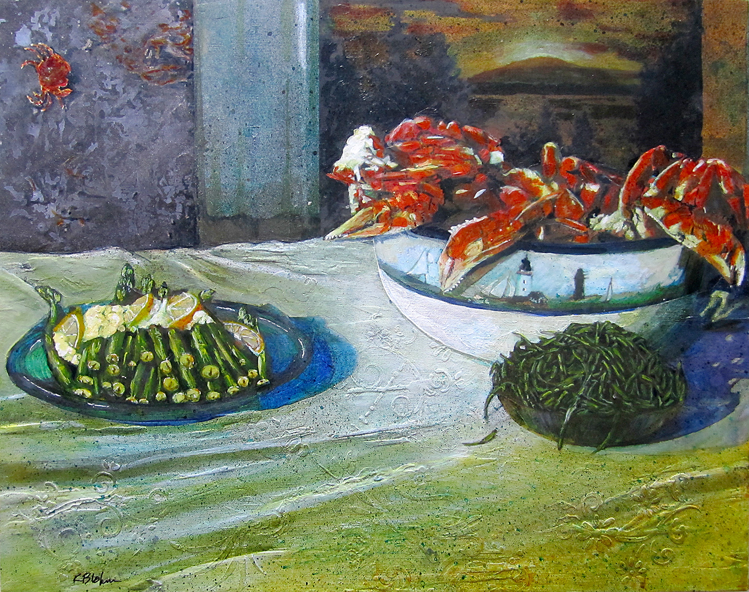 Crab and Asparagus painting