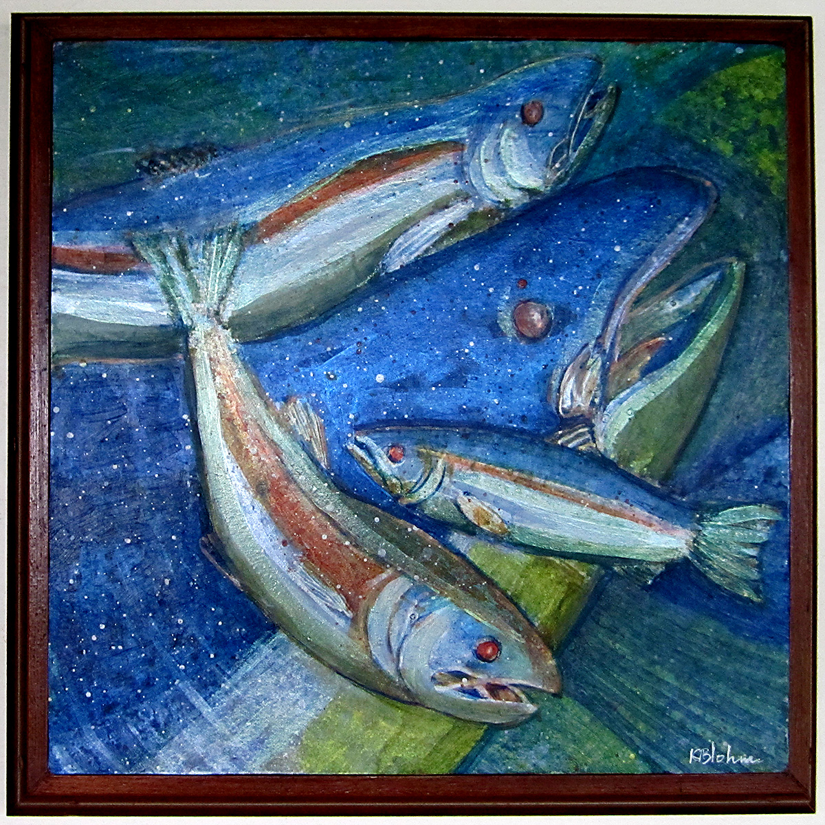 Framed Salmon Painting