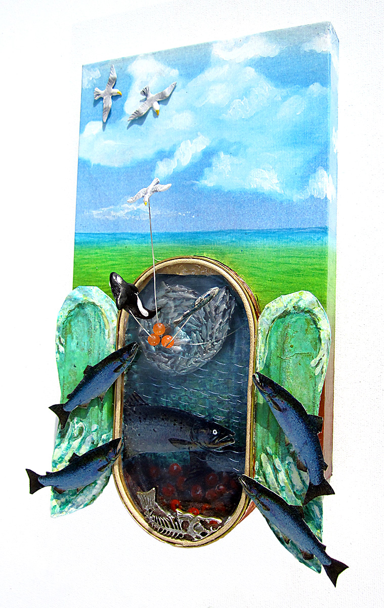 A tribute to the life cycle of Wild Salmon ~ metal, ceramic, stone, acrylic paint, wood cradle ~ 11x7