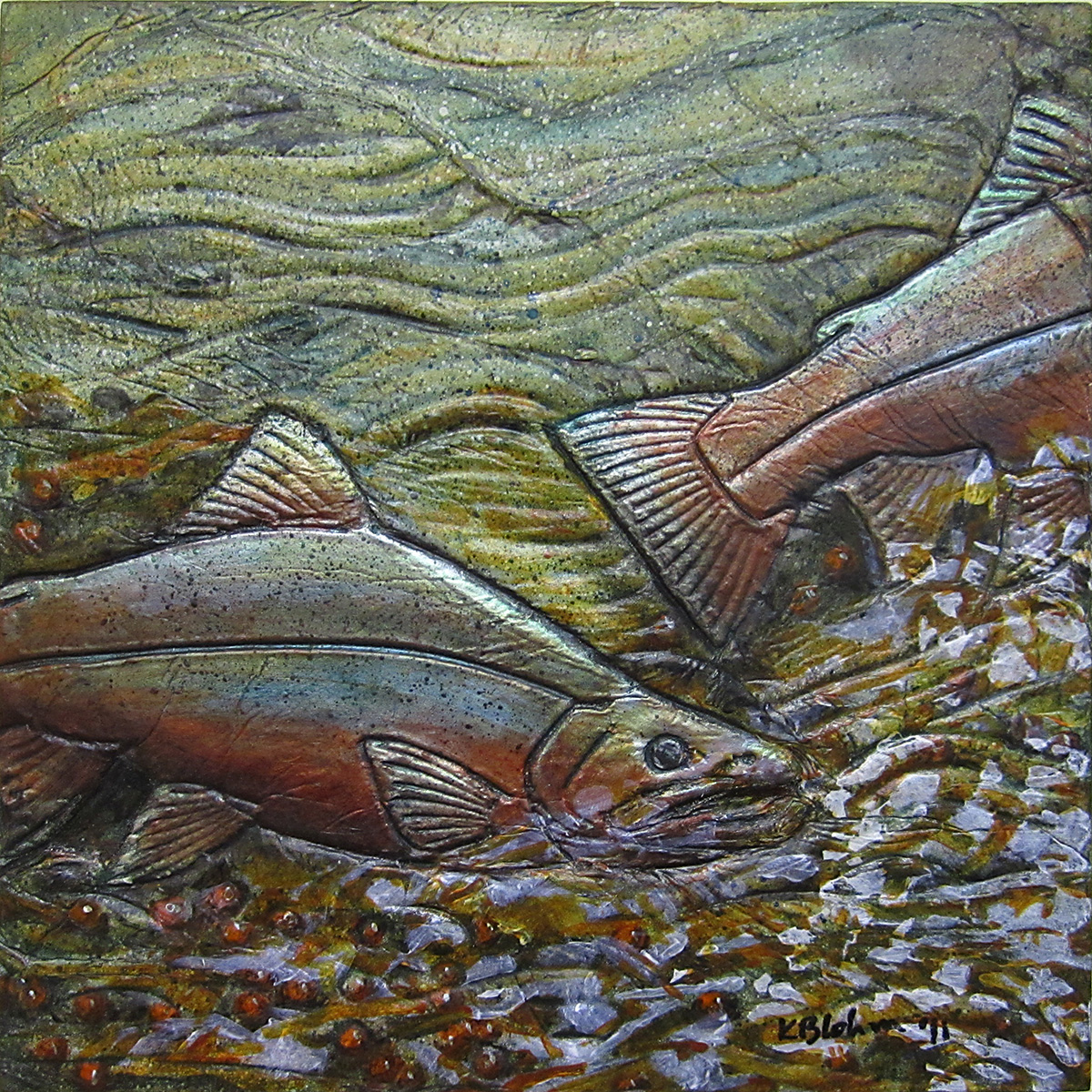 Salmon Spawning Painting