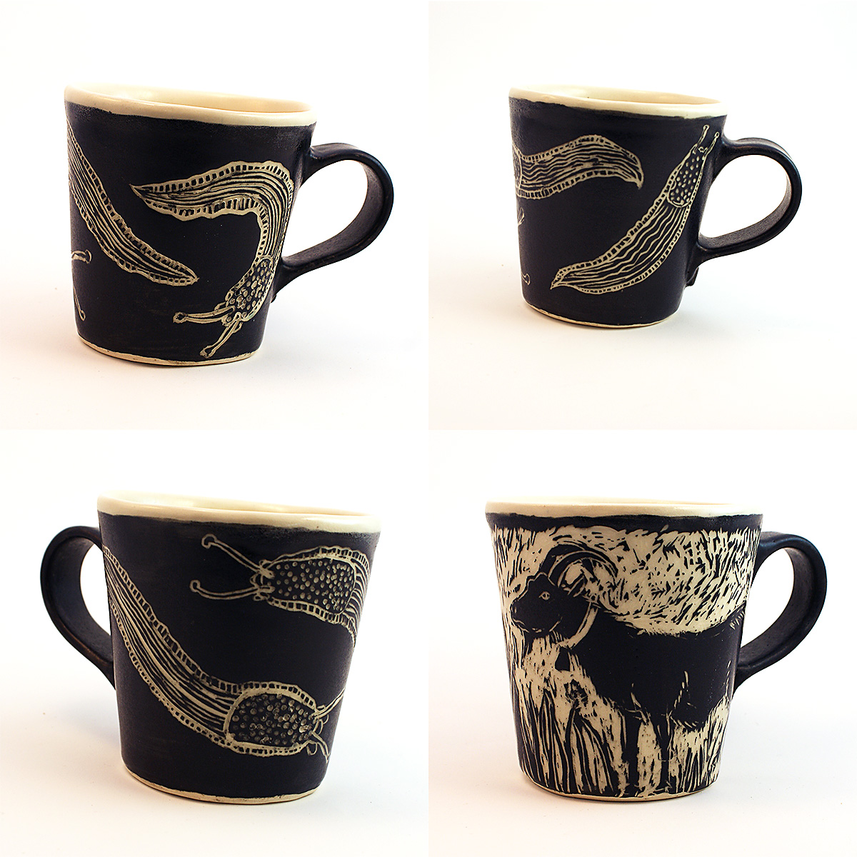 Four Slug and Goat Mugs