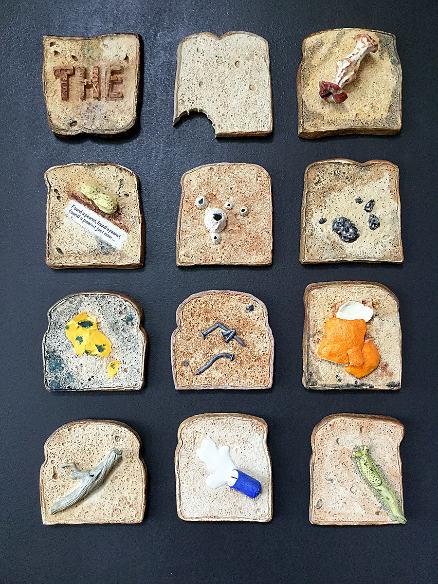 useless toast mixed media