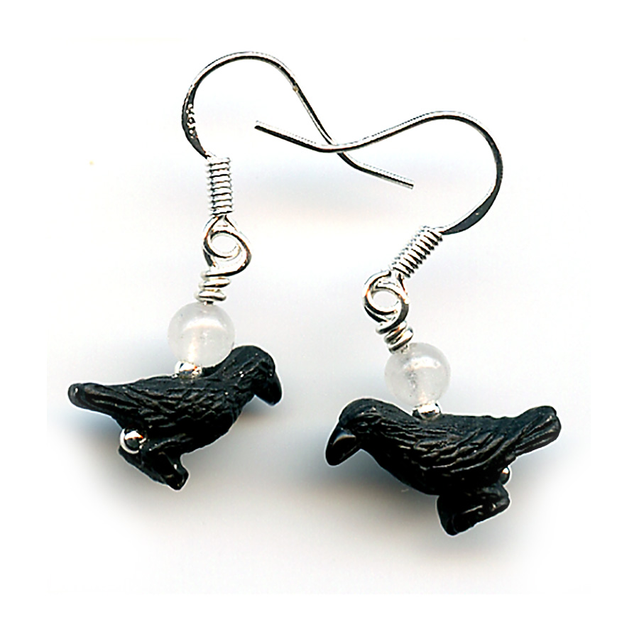 Raven and Moon Earrings